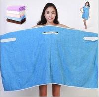 2014 New Hot sale polyester  fiber towels Variety Magic bath towel can be worn a couple Bra-style bath skirt bathrobe 310g