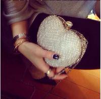 Luxury Party Clutch Bag Iron Box Full Diamond Evening Bag Clutch Solid Star/heart Diamond Wedding Handbag  Black Silver Gold