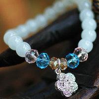 Hot Sale Fashion White Chalcedony Flower Bracelets & bangle 8mm Beads Charm Bracelet Elastic for Women Party Jewelry wholesale