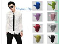 10 pcs New Slim Skinny Men Wedding Solid Plain Narrow Necktie Color Satin Polyester Tie
