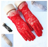 10pairs /lot free shipping new design Sunscreen Lace short Gloves  Performing gloves