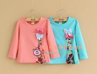girls blouse 96% cotton 2014 spring girls clothing children t-shirt new arrival children's clothing bow girls tshirt