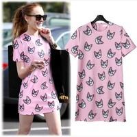 New summer dress 2014 formal digital women dress animal owl cat print short-sleeve female one-piece casaul dress X119