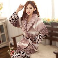 Leopard print coral fleece robe female winter flannel robe medium-long coral fleece bathrobe autumn and winter female