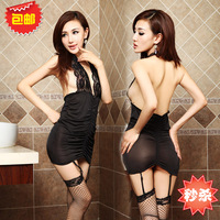 Women's tight-fitting one-piece sexy mesh stockings the temptation to set uniform sleepwear short skirt panties