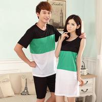 Summer Men Pajama Casual Home Night Wear Lovers Cotton Pajama Set Short-sleeved Color Striped Couples Sleepwear Women Sleepskirt