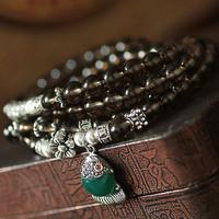 S925 pure silver natural smoky quartz smoky quartz crystal vintage thai silver agate small fish multi-circle bracelet