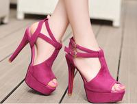2014 New Fashion Peep Toe T Strap Ankle Strap 12cm Stiletto Heel Platform Flcok Leather Sexy Cutout Woman High Heel Sandals