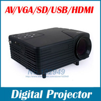 HOT Portable Mini Projector 640 x 320 Pixels Support 1080P H80 80 Lumens with AV/USB/VGA/HDMI/SD Card Slot Free shipping