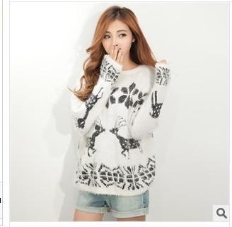 2013 бесплатная доставка корейской версии нового зимой свитер пуловер оленя шаблон lmohair женщина свитер 798