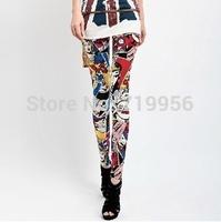 Fashion Colorful Cartoon Character Pencil Pants Skinny European and American Style Women Leggings 120g  SL017