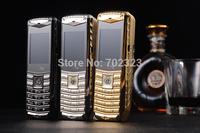 2014 New unlocked V8 with logo metal phone 3 SIM 3 standby Russian keyboard MENU Free shipping