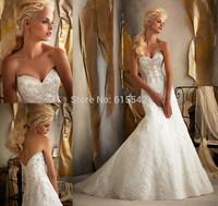 Fashion Sparkle Beads Lace Mermaid Trumpet Bridal Dresses Sweetheart Sleeveless Chapel Train Wedding Dresses Custom