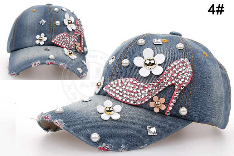 2014 new Retail Diamond Point High heeled shoes denim caps women baseball cap men Hats rhinestone