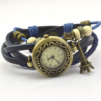 Fashion & Casual High quality real cowhide Tower pendant Watches women's fashion Lovers' Wristwatches