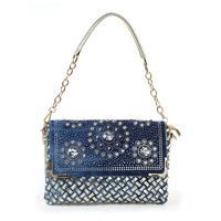 2014 new lady canvas bag retro fashion knitting rhinestone cowboy bag compartment shoulder - hand Ladies Handbag Bag