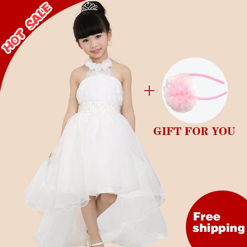 Retail+free nuevo envío de verano 2014 flor de la moda de encaje de malla de bebé niña vestido de fiesta por la noche las niñas/vestidos de novia 3-14 años