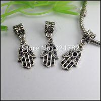 100PCS/LOT Tibetan Silver Dangle Hamsa / Palm / Hand Big Hole Charm evil eye Beads fit European Bracelet jewelry findings