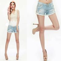 new 2014 Women summer Shorts jeans Low Waist Lace Denim Short womenTrousers Loose Vintage denim short saia  femininos bermudas