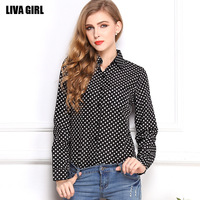 2014 New Fashion long-sleeved T-shirt Women's clothing Chiffon spots large size  floral crop top Free Shipping