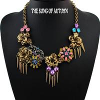 2014 New Fashion Brand Women Jewelry Necklaces & Pendants Antique Rivet Alloy Flower Statement Necklace