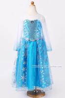 New girls dress Movie Cosplay Costume Princess Elsa Dress from Frozen for Children,frozen dress girls Ana Dress party clothes