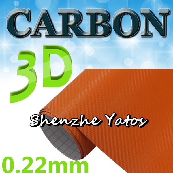 orange 0.22mm 3d vignette carbone carrosserie emballage air bulle 1.52*30m de vinyle décoratifs(China (Mainland))