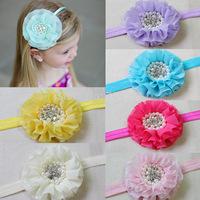 """3.5"""" baby chiffon headbands beaded chiffon headbands girls headbands children headbands 18 colors free shipping"""