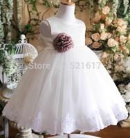 Free shipping White princess flower girls dress Dress party evening elegant 2-10 age