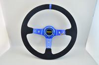 Steering wheel 14inch (350mm ) MOMO Deep Corn Drifting Steering Wheel / Suede Leather blue