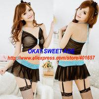 SWA4038 New Fashion Sexy Lingerie Set Spaghetti Strap Transparent Mesh Bra Bow & Blue Lace Black Mini Dress
