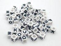 1000pcs 6x6mm White Base With  Alphabet Pony Beads Letter Beads/Acrylic Cube Shape Beads For Loom Band Bracelet