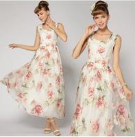 2014 New Fashion Summer Organza Formal Gentlewomen White Gauze Embroidery Full Dress