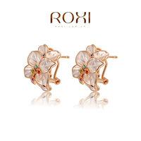 ROXI fashion new arrival, genuine Austrian crystal,rose ear clip,women trendy earrings Chrismas /Birthday gift