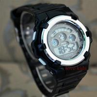 2014 fashion OHSEN 7 color LCD Back Light  Crystal Sports Black Watch boys girls man women best gift  wrist watch