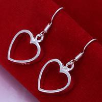 Min order is $10,925 Silver Plated Earrings Heart-shaped Earrings Free Nickel Wholesale Jewelry Free Shipping ! cRYSTAL sHOP E09