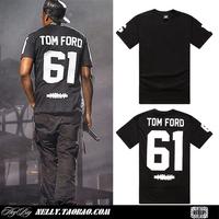 """2014 New Fashion Summer Mens Concert Number """"61"""" Pyrex O-neck Short Sleeve Baseball T-shirt Hip Hop Men Shirt Cotton Jay-z"""