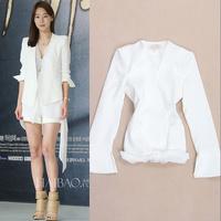 Free shipping Hot Sale 2014 autumn high quality fashion slim chiffon patchwork elegant white suit jacket