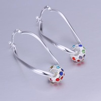 Fashion Europe Vintage 925 Silver Earrings Wholesale Women's Silver Plated Coloful Zircon Earring Jewelry CE245