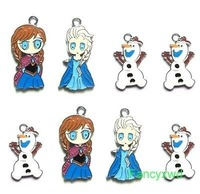 Wholesale new 200 X Frozen Elsa/ Anna/Olaf/ Metal Charms pendants DIY Jewellery Making crafts Free Shipping