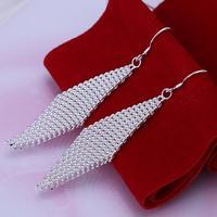 Min order is $10,Hot Sale ! New Arrival 925 Silver Plated Earrings Net Ladder Drop Earrings Fashion Wholesale Jewelry E53