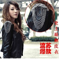 Hot New Fashion winter Women/Lady Shoulder Tassel Coat Europe Locomotive Short PU Leather Jacket Black/Red