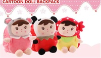 2014New promotion children cartoon schoolbag super cute plush doll backpack High quality soft PP cotton stuffed  animal for girl