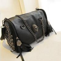 bolsas real bolsa new 2014 european and american style women handbags tassel skull chain bag pu leather shoulder bags messenger
