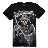 Free shipping 100% cotton skull summer T-shirt , Men's skull t-shirt, 3D skull death print short sleeve t-shirt,black 3D tops
