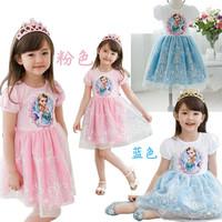 New 2014 frozen Elsa summer dress 2014 Children girls princess party elsa dresses 2-7Y