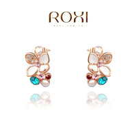 ROXI fashion genuine Austrian crystal Flower earrings jewelry,women trendy rose gold plated earrings,Christmas/Birthday gif