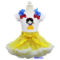 Girl Yellow White Pettiskirt Embroidered Snow White Princess Short Sleeves Tee Party Dress 1-7Y