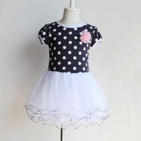 princess summer girl dress 3~11age teenage girls fashion polka dots children's apparel free shipping clearance