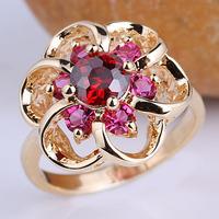 Lady Flower Shape  Gold Filled Red Garnet S925 Sterling Silver Ring Size 6 7 8 9 R097